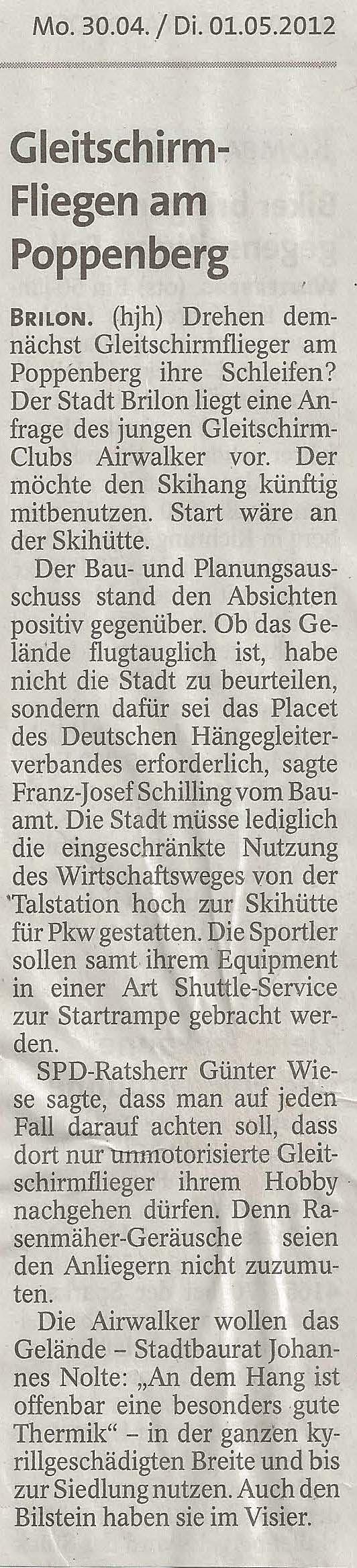 Westfalenpost 30.04.2012